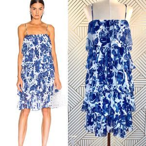 Caroline Constas Ruffle Tea Length Dress in Blue